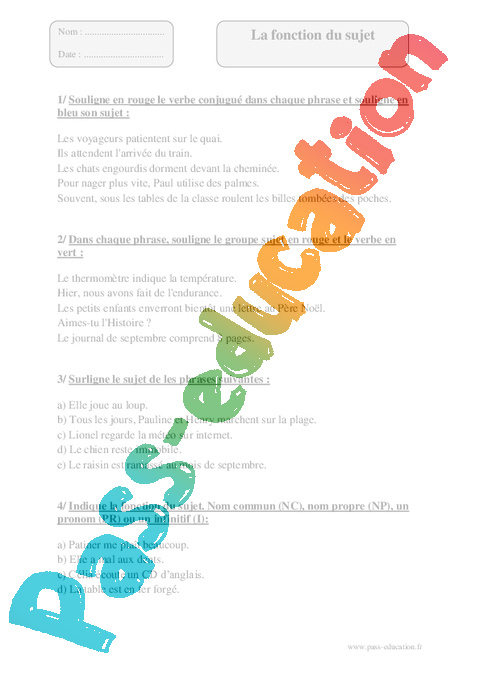 Fonction du sujet - Cm1 - Exercices corrigés - Grammaire - Cycle 3 - Pass Education