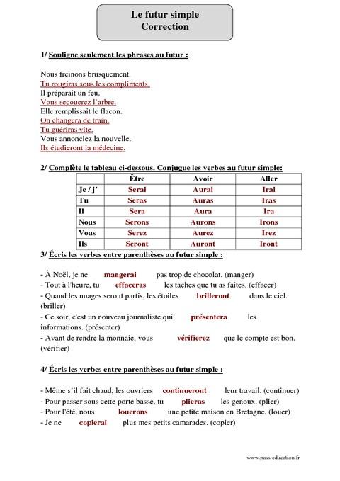 Futur simple cm2 exercices corrig s conjugaison - Conjugaison cm2 a imprimer ...