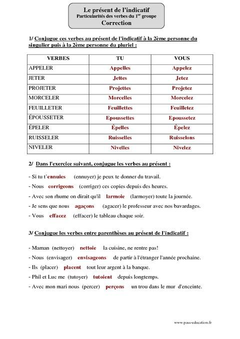 Présent de l'indicatif - Verbes du 1er groupe - Cm2 ...