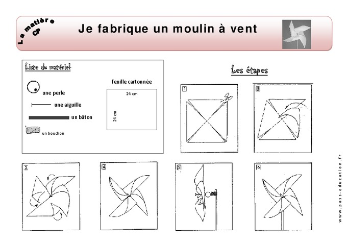 Je fabrique un moulin vent cp exercices mati re d couverte du monde cycle 2 pass - Fabrication moulin a vent ...