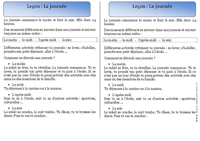 Journ e cp trace crite temps le on cycle 2 pass education - Comment se passe une fausse couche precoce ...