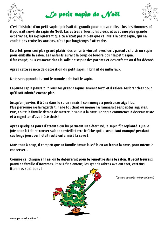 Sapin de Noel sapin de noel histoire : Le petit sapin de Noël - Lecture - Conte - Cp - Ce1 - Cycle 2 ...