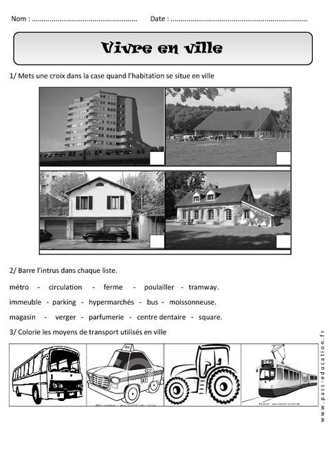 vivre en ville paysages urbains exercices cp espace cycle 2 pass education. Black Bedroom Furniture Sets. Home Design Ideas