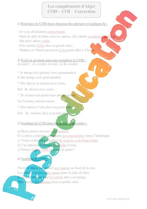 COD - COI - Cm2 - Exercices corrigés - Grammaire - Cycle 3 ...