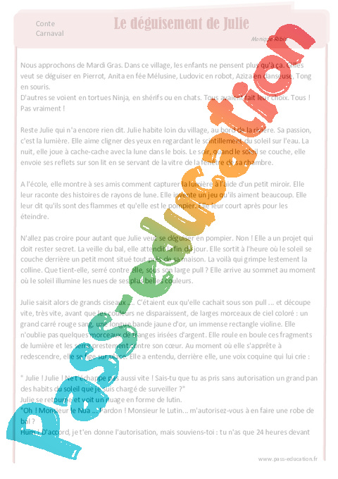 le d guisement de julie lecture conte mardi gras cycle 3 pass education. Black Bedroom Furniture Sets. Home Design Ideas