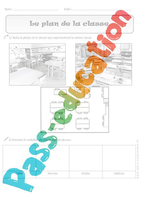 plan de la classe cp exercices espace cycle 2 pass education. Black Bedroom Furniture Sets. Home Design Ideas