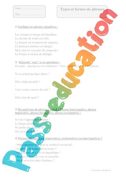 Types formes de phrases - Cm2 - Exercices corrigés ...