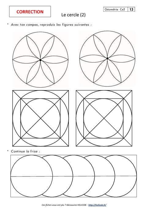Cercle - Ce2 - Exercices corrigés - Géométrie - Pass Education