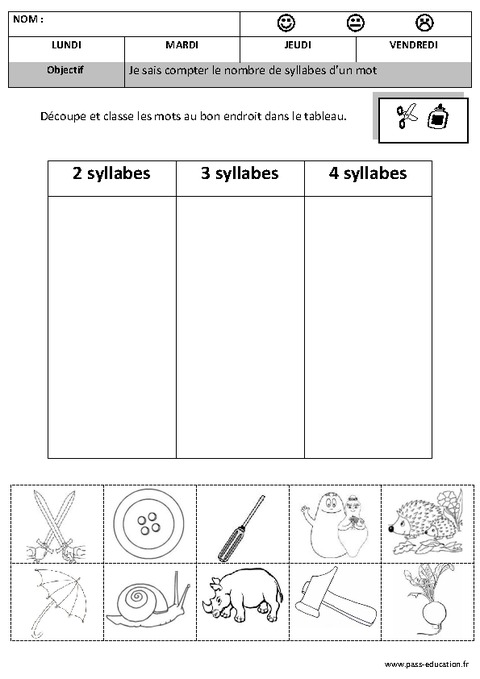 Syllabes classer compter dessiner 2 4 phonologie maternelle moyenne section - Couper les mots en syllabes ...
