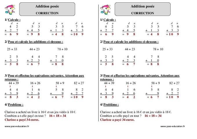 Soustraction en colonne exercices corriges calcul - Exercices tables d addition ce1 ...