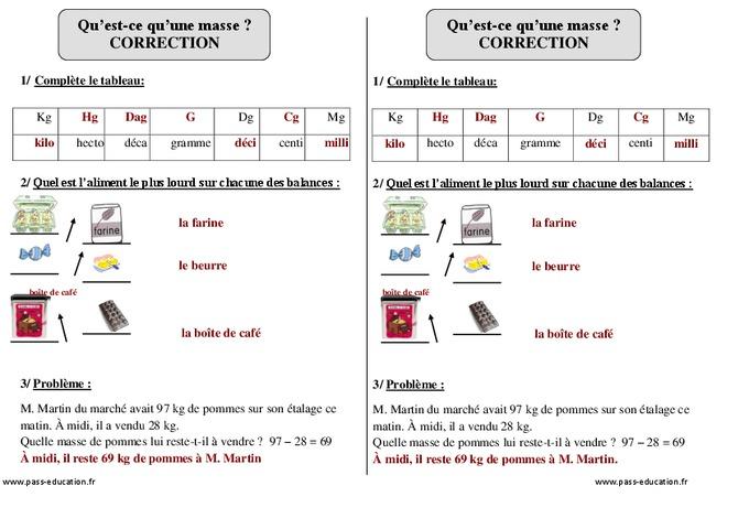 Masse - Ce1 - Exercices corrigés - Mesures - Mathématiques ...