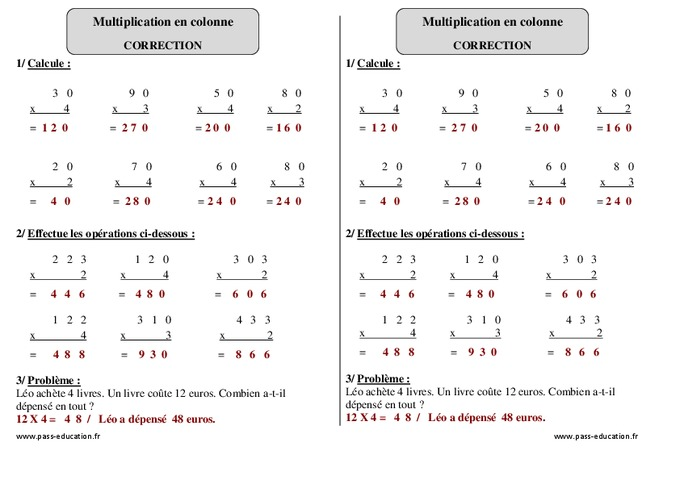 Multiplication en colonne ce1 exercices corrig s - Exercice table de multiplication cm1 ...