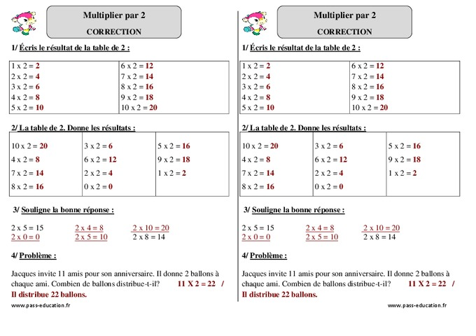 Multiplier par 2 ce1 exercices corrig s - Table de multiplication exercice ce1 ...