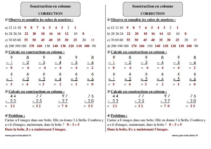 Soustraction en colonne ce1 exercices corrig s for Exercice de multiplication ce1