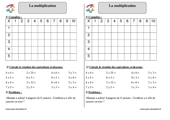 Evaluation table de multiplication ce1 28 images table for Exercice multiplication ce2