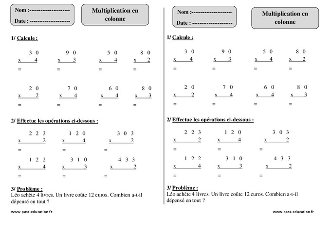 Multiplication en colonne ce1 exercices corrig s for Exercice table de multiplication cm1