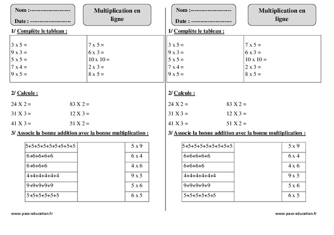 Multiplication en ligne ce1 exercices corrig s for Calcul multiplication ce2
