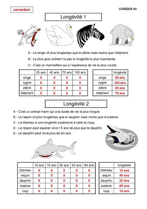 Probl mes de logique cm2 math matiques exercices et for Tableau logique
