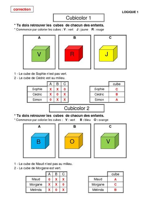 Probl mes de logique cp math matiques exercices et for Tableau logique
