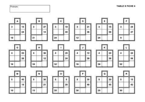 R vision des tables calcul ce2 cm1 cm2 for Revision table de multiplication