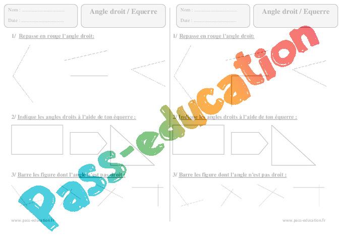 Angle droit - Equerre - Ce1 - Exercices corrigés - Géométrie - Cycle 2 - Pass Education