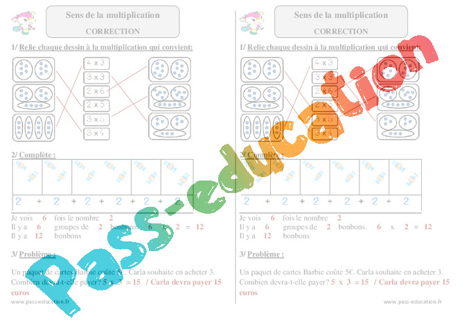 Sens de la multiplication ce1 exercices corrig s math matiques cycle 2 pass education - Exercice ce1 table de multiplication ...