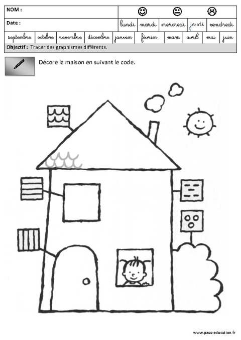 fiches p dagogiques exercices graphisme maternelle grande section gs pass education. Black Bedroom Furniture Sets. Home Design Ideas