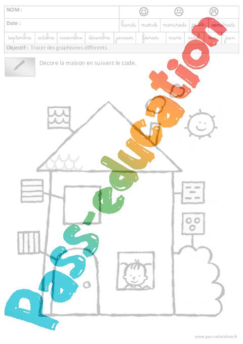 Fiches p dagogiques exercices graphisme maternelle for Decore maison 2012