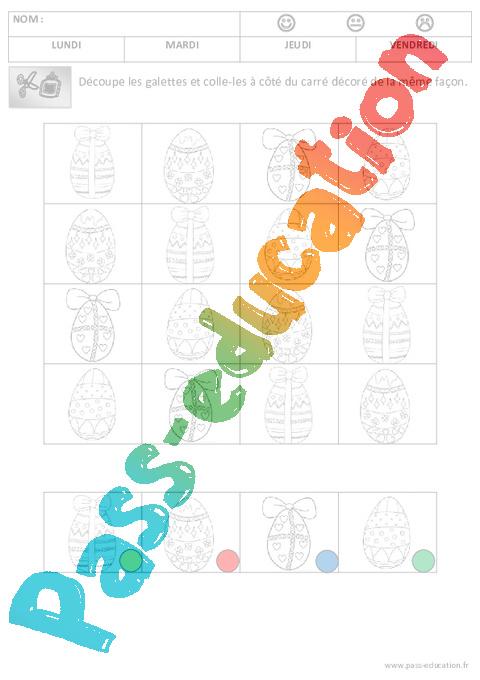 Discrimination visuelle les oeufs p ques maternelle petite section ps pass education - Oeufs paques maternelle ...