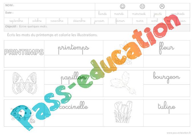 Printemps ecrire des mots en cursive maternelle - Le printemps gs ...