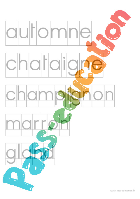 Fichier de mots pour activit imprimerie par th me ecriture maternelle petite section - Activite automne maternelle ...