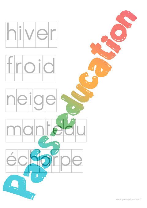 Fichier de mots pour activit imprimerie par th me ecriture maternelle petite section - Activite manuelle maternelle hiver ...