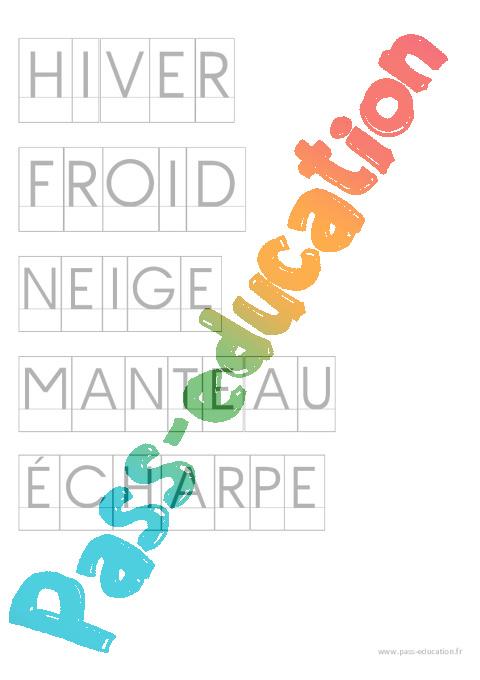 Fichier de mots pour activit imprimerie par th me ecriture maternelle petite section - Activite hiver maternelle ...