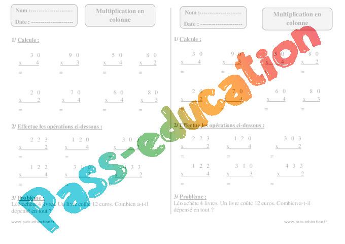 Multiplication en colonne ce1 exercices corrig s - Tables de multiplication ce1 exercices ...