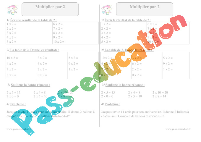 Multiplier par 2 ce1 exercices corrig s math matiques cycle 2 pass education - Exercice ce1 table de multiplication ...