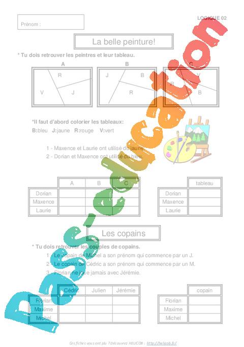 Bien-aimé Problèmes de logique – Ce2 – Cm1 – Exercices corrigés  QI62