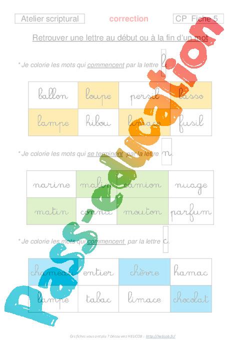 travail sur les lettres - cp - lecture  ecriture - exercices corrig u00e9s fran u00e7ais - cycle 2