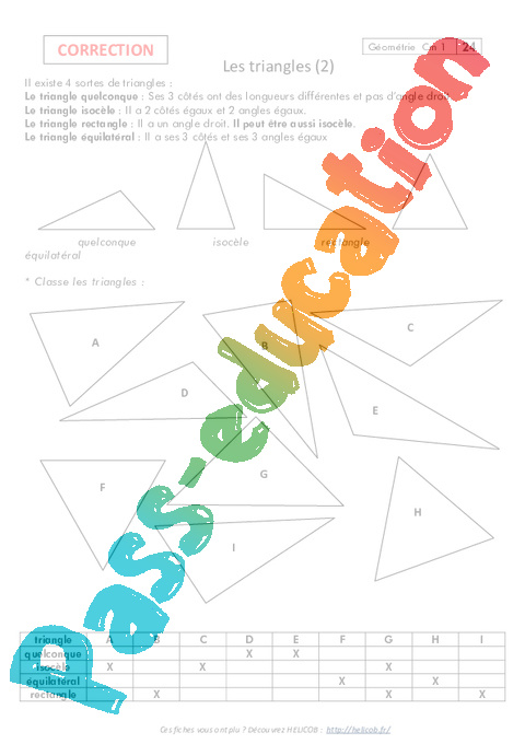 entrainement cm1 les triangles