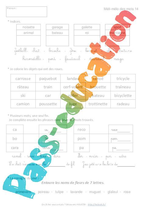 vocabulaire ludique - ce1 - exercices corrig u00e9s