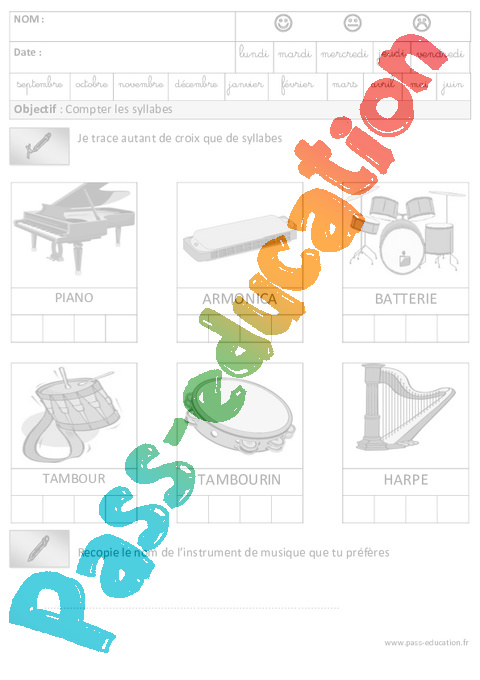 Syllabes phonologie maternelle grande section gs cycle 2 pass education - Couper les mots en syllabes ...