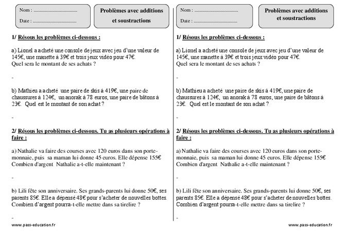 Additions soustractions ce2 probl mes exercices - Exercice soustraction ce2 a imprimer ...