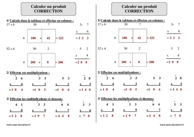 Calculer un produit ce2 exercices corrig s pass for Mathematique ce2 multiplication