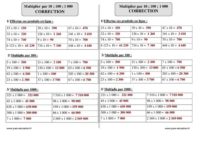 Multiplier par 10 100 1 000 ce2 exercices avec - Table de multiplication exercice ce2 ...