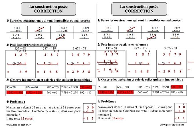 Soustraction pos e ce2 exercices corrig s calcul - Les tables de soustraction a imprimer ...