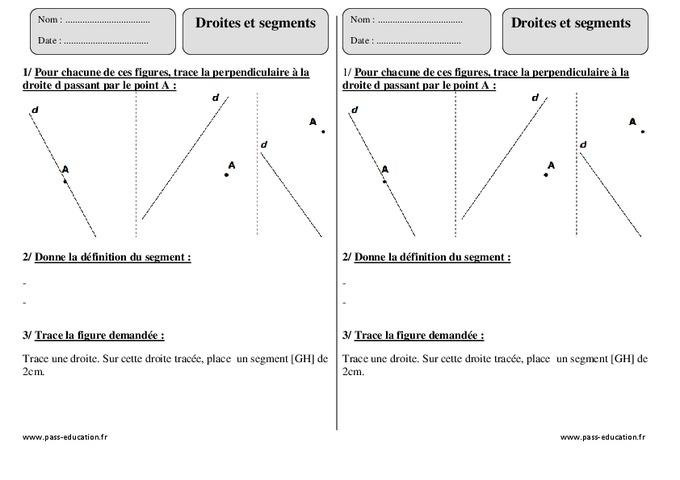 Droites et segments - Ce2 - Exercices corrigés - Géométrie - Pass Education