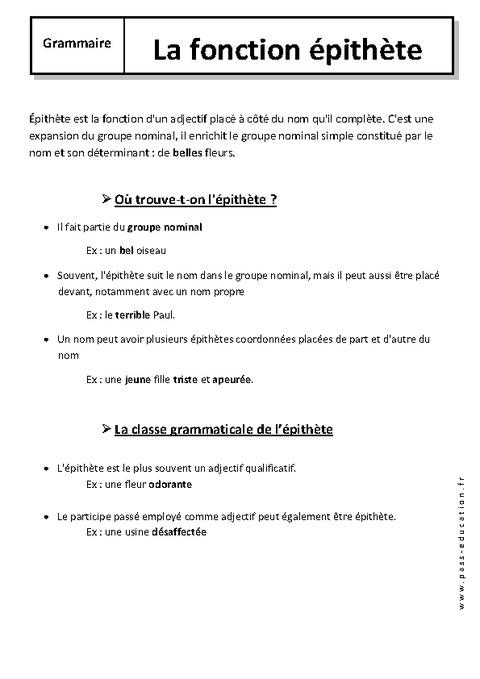 Epithète - 6ème - Cours - Fonctions grammaticales - Pass ...
