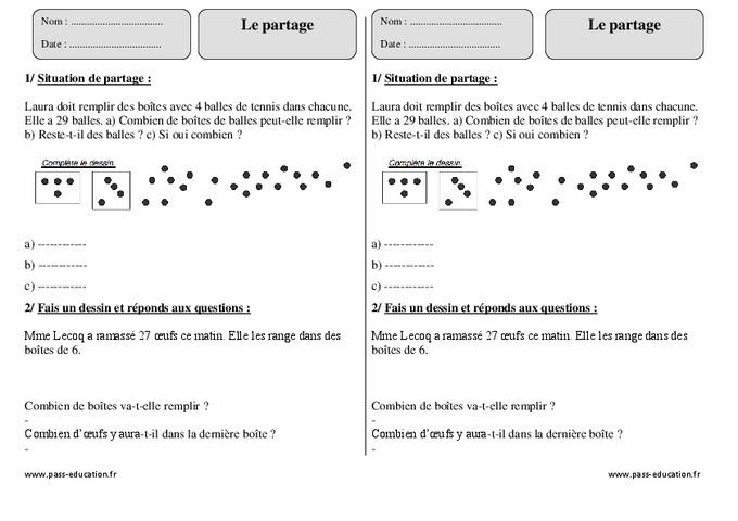 Partage – Ce2 – Exercices corrigés – Calcul - Pass Education
