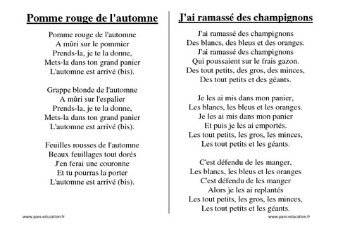 Gut gemocht Saisons - Chants - Comptines - Maternelle - Petite section  NJ27