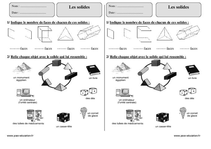 Solides - Ce2 - Exercices corrigés - Géométrie - Pass ...