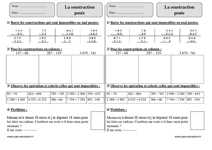 Soustraction pos e ce2 exercices corrig s calcul math matiques cycle 3 pass education - Soustraction ce2 a imprimer ...